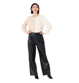 VEDA Bess Leather Trouser Black